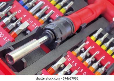 Mechanical bit tool set closeup
