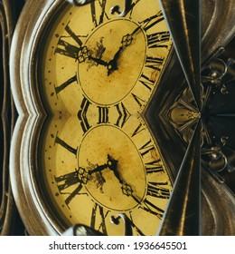 Mechanical clock on a dark background