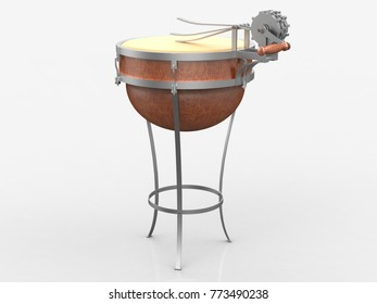 Mechanical drum, Leonardo da Vinci, Codex Atlanticus 0984r. 3D model.