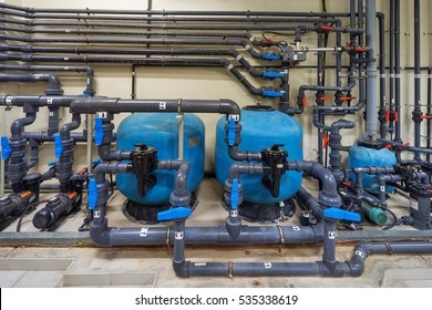 A mechanical electrical pump room showing a series of complex pipe works, pumps and valves