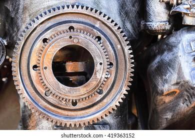 mechanical gear photo closeup in detail