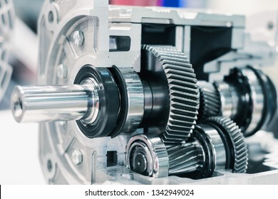 Mechanical gearbox, cross section. Helical gear Close-up