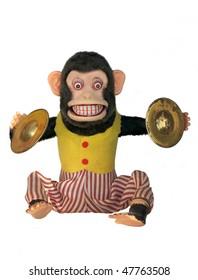 Mechanical monkey toy, full body isolated on white
