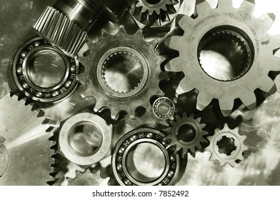 mechanical parts menagerie against steel and in a duplex brown toning concept