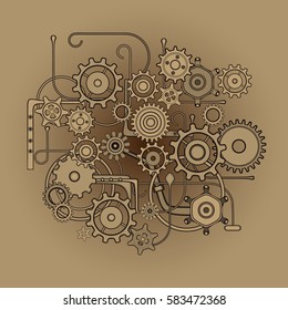 Mechanical Pattern Composition. Beige cogs on gradient background. Steam Punk
