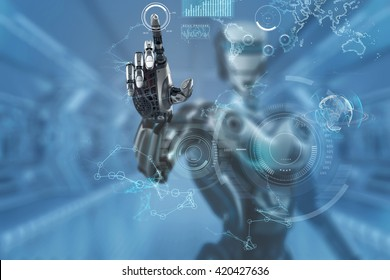 Mechanical robotic arm touching virtual hud screen interface. A robot in futuristic designed environment. 3d rendered image.