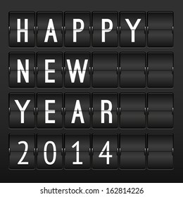 Mechanical timetable, happy New Year 2014 card. Set of letters and numbers