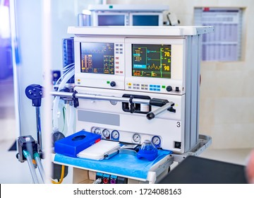 Mechanical ventilation equipment. Pneumonia diagnosting. Ventilation of the lungs with oxygen. COVID-19 and coronavirus identification. Pandemic. - Shutterstock ID 1724088163