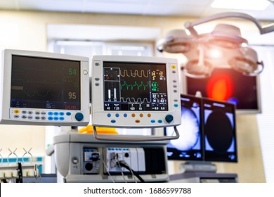 Mechanical ventilation equipment. Screen with results. Pneumonia diagnosting. Ventilation of the lungs with oxygen. COVID-19 and coronavirus identification. Pandemic.