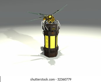mechanical wasp sits atop a chemical container