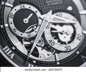 Mechanical watch up close in black and white