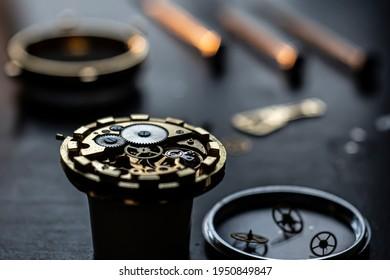 Mechanical watch repair process. Open pocket wristwatch. vel