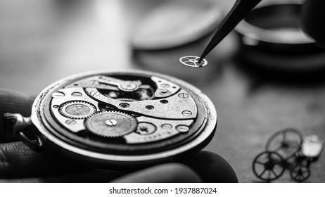 Mechanical watch repair process. Watchmaker