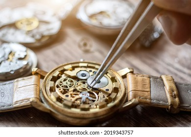 Mechanical watch repair. Watchmaker repairs vintage mechanical watches. Watchmaker's workshop.