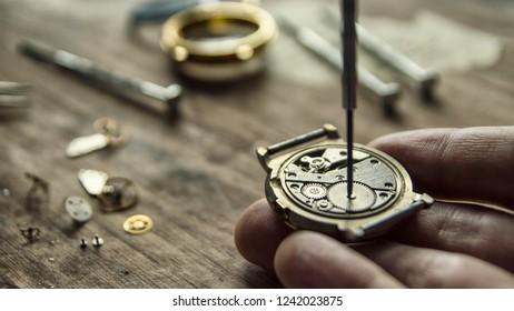 Mechanical watch repair, watchmaker's workshop, special tools