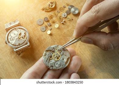 Mechanical watch repair, watchmaker's workshop
