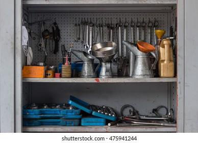 Mechanical workshop tools in garage