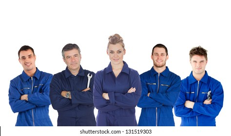 Mechanics in boiler suits portrait on white background