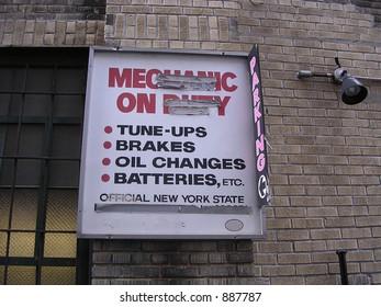 Mechanics on Duty Sign
