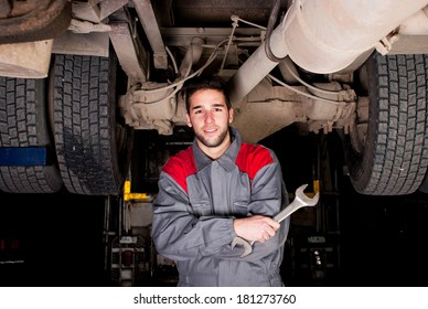 Mechanic's portrait. Mechanic's portrait, who is working under a truck.