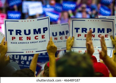Mechanicsburg, PA - August 1, 2016: Presidential candidate Donald J Trump speaking to a crowd of supporters at a political rally.