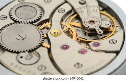 The mechanism of analog hours. A photo close up