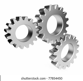 The mechanism. Gear 3d. Isolated  on white background