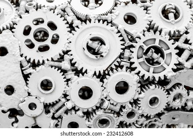Mechanism gears and cogs for background.