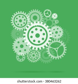 Mechanism with gears and cogs working together, idea concept. collection machine gear. Gears silhouette.Clock mechanism. Cogs and gears set. Design element.