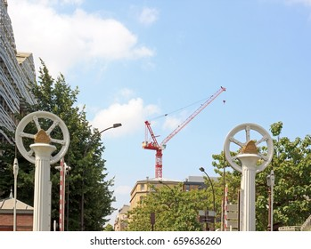 Mechanism of the lift bridge, the crane in the center. Channel of Ourcq (Paris France)