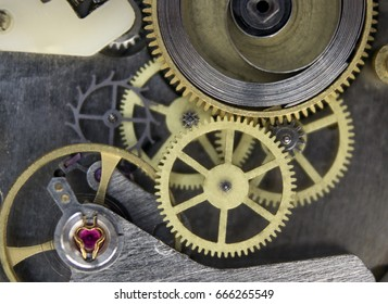Mechanism of mechanical, hand clocks close up, macro