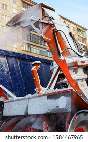 mechanism of snowplows closeup. Snow removal equipment works on the streets of the city.