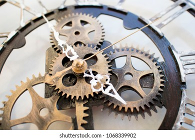 mechanisms clock on a white background