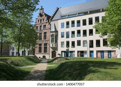 MECHELEN - BELGIUM - 20 APRIL 2019 - Park in the old historic center of Mechelen in Belgium.