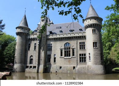 MECHELEN, BELGIUM, 26 MAY 2018: Exterior view of the 19th century Zellaer Castle, in Bonheiden near Mechelen. Formerly a convent, the grounds and castle are now open to the public.