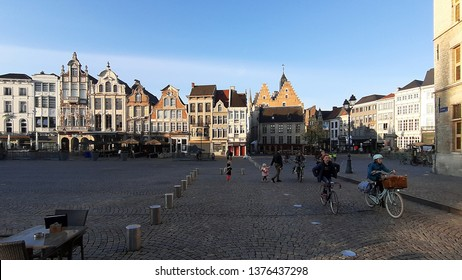 Mechelen, Belgium - April 5. 2019: Cycling around the beautiful town of Mechelen is a daily routine by the locals  in the province of Antwerp, Flanders, Belgium