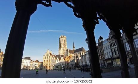 Mechelen, Belgium - April 5. 2019: Morning in the beautiful town of Mechelen in the province of Antwerp, Flanders, Belgium