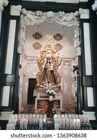 Mechelen, Belgium - December 13, 2018: Interior view of Cathedral of Mechelen. It is dedicated to Saint Rumbold