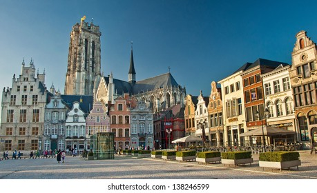 MECHELEN , BELGIUM - FEBRUARY 4: View of the Grote Markt, February 4, 2013, Mechelen, Belgium. Population of Mechelen 80 thousand people, in Belgium it is included into number of 15 largest cities.