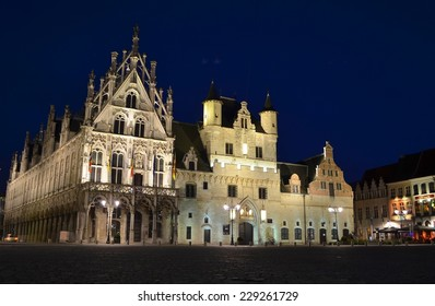 MECHELEN, BELGIUM, JANUARY 19, 2014:Night view of the illuminated main square in belgian mechelen.