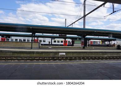 Mechelen, Belgium - July 17, 2018; The platform of the central station of Mechelen