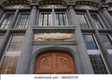 Mechelen, Belgium - July 17, 2018; House 'De Zalm' is located on the Zoutwerf. This former guild house of the fishmongers was built by architect Willem van Wechtere in an early Renaissance style.