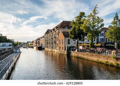 Mechelen, Belgium - July 29, 2016: Cityscape of Mechelen from the gangway on the canal. Mechelen is one of most prominent cities of historical art in  Flanders