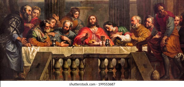MECHELEN, BELGIUM - JUNE 14, 2014: The Last Supper painted by Jan Erasmus Quellinus (1634-1715) in church Our Lady across de Dyle.
