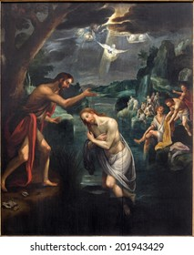 MECHELEN, BELGIUM - JUNE 14, 2014: The Central panel of the Baptism of Christ triptych in church Our Lady across de Dyle.