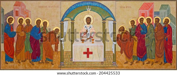 MECHELEN, BELGIUM - JUNE 14, 2014: The orthodox icon of Communion the Apsotle st. Katharine church or Katharinakerk.