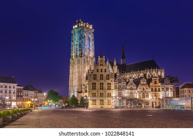Mechelen, Belgium - May 02, 2017: Grote Markt in Mechelen at sunset.