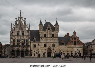 MECHELEN / BELGIUM - MAY 2014: Gothic Town hall on Market square in Mechelen, Belgium
