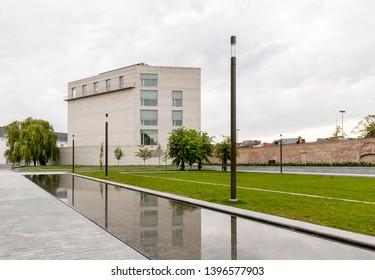 Mechelen, Belgium - May 6, 2019: Kazerne Dossin  Memorial in commemoration of the holocaust, designed by Bob Van Reeth