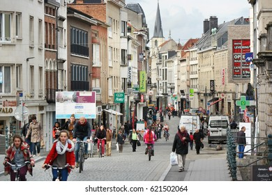 MECHELEN, BELGIUM - OCTOBER 16: Crowds of shoppers in Bruul shopping street in the centre of the old Flemish city of Mechelen. Photo taken at October 16, 2014 in Mechlin, Belgium.